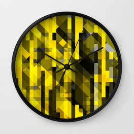 abstract composition in yellow and grays Wall Clock