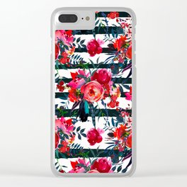 Magenta pink fuchsia black white watercolor floral stripes Clear iPhone Case