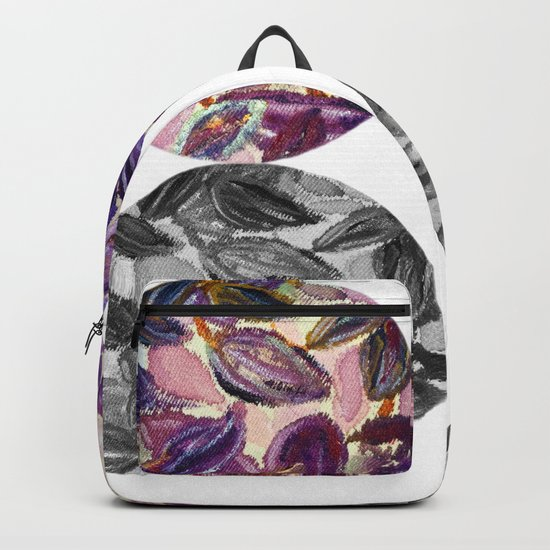 DRIP DRIP DRIP Purple Leaves Shadow Black and White Backpack