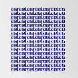Navy and White Greek Key Pattern Throw Blanket