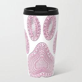 Abstract Pink Ink Dog Paw Print Travel Mug