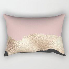 Rose Gold Glitter Black Pink Abstract Girly Art Rectangular Pillow