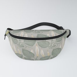 Herbal pattern Great plantain, Plantago major. Medicinal plant wild field flower on a gray background. Fanny Pack