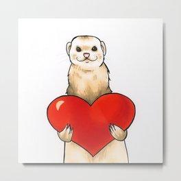 Ferret Love - 1 Metal Print