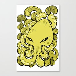 Octopus Squid Kraken Cthulhu Sea Creature - Meadow Lark Yellow Canvas Print