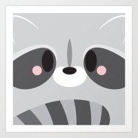 Racoon Block Art Print