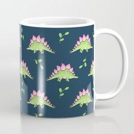 Green and Pink Stegosaurus Dinosaur on navy with leaves Coffee Mug