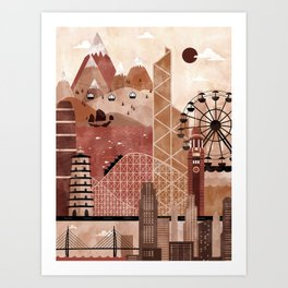 Hong Kong Travel Poster Illustration Art Print