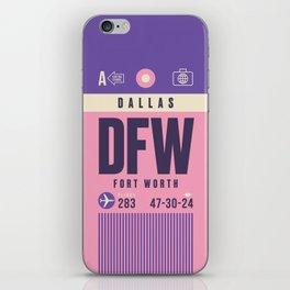 Retro Airline Luggage Tag - DFW Dallas Fort Worth iPhone Skin