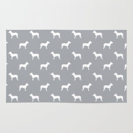 Pitbull grey and white pitbulls silhouette minimal dog pattern dog breeds dog gifts Rug