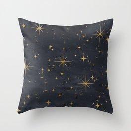Seamless Pattern Night Sky Gold Stars Magical Mystical Pattern Throw Pillow