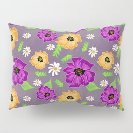 Purple and Gold Floral Pillow Sham