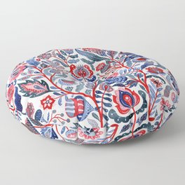 Botanical in red and blue Floor Pillow