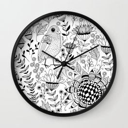Bird and flowers doodle pattern Wall Clock