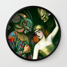 Carnival of Venice Masquerade Art Deco Masked figure & Woman with bauta mask painting by W.T. Benda Wall Clock