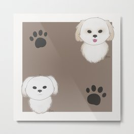 Pattern of Pups Metal Print