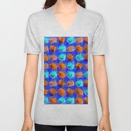 geometric polygon abstract pattern in blue and brown Unisex V-Neck