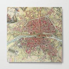 Vintage 1784 Lithographic Map of Paris, France Metal Print
