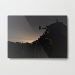 Tractor at Night Metal Print
