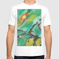 Green orange galaxy White Mens Fitted Tee MEDIUM