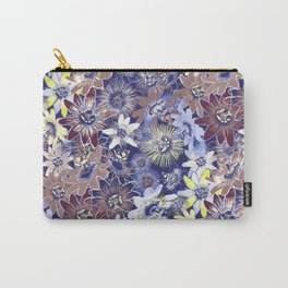 Passion Flower Blue Carry-All Pouch