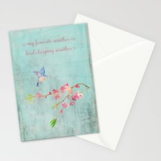 My favorite weather - Romantic Birds Cherryblossoms and Spring Typography on aqua Stationery Cards