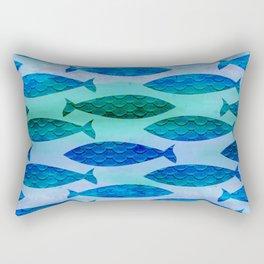 Blue Turquoise Green Watercolor Fish Pattern Rectangular Pillow