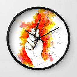 Inky hands15-Pen Wall Clock