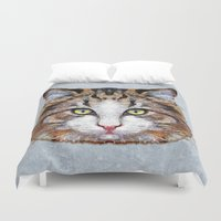 meow Duvet Covers featuring MEOW by Ancello