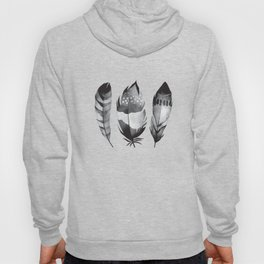 Monochrome bohemian feather set black-white boho watercolor animal illustration boho home wall decor Hoody