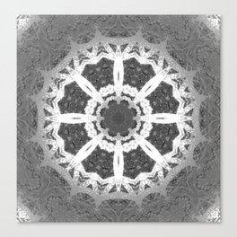 Grey and white delicate Flower Stamp Abstract Canvas Print