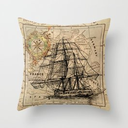 Vintage Nautical Map Throw Pillow