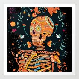 Day of the Dead Skeleton – Dia de los muertos – sugar skull – cool design Art Print
