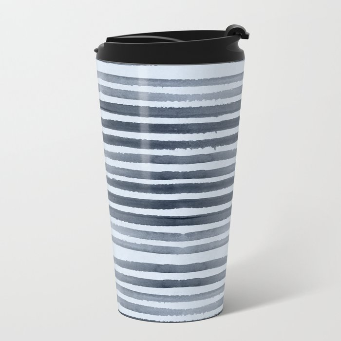 Simply Shibori Stripes Indigo Blue on Sky Blue Metal Travel Mug