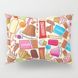 sweets seamless pattern (lollipop, candy cane, pudding in dish, birthday cake with candles) Pillow Sham