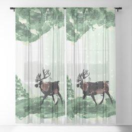Reindeer in snowy forest Sheer Curtain