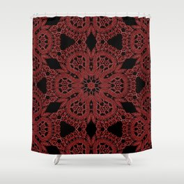 Red Lace Pattern Shower Curtain