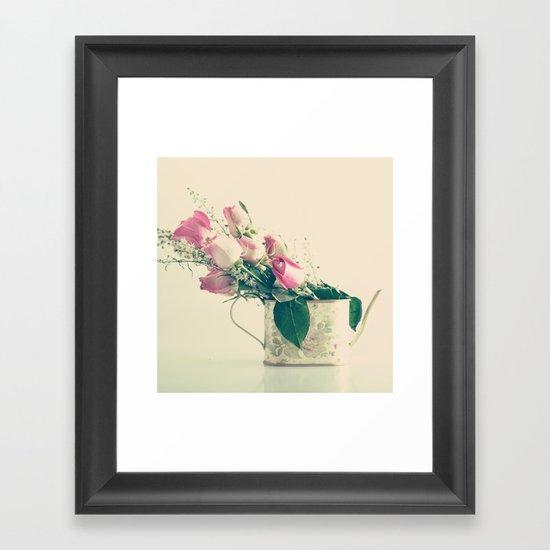 Shabby Chic Roses - Retro Vintage Pink Floral Photography on beige background Framed Art Print