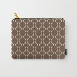 Coffee Brown Quatrefoil Pattern Carry-All Pouch