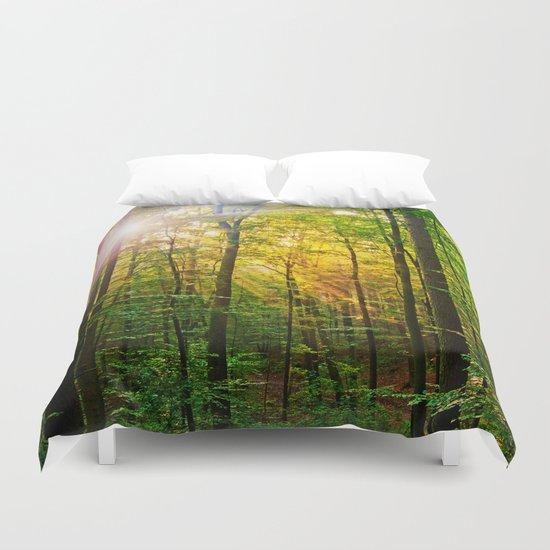 Morning sun in the forest Duvet Cover