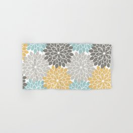 Floral Petals in Blue, Grey and Yellow Hand & Bath Towel