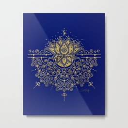 Sacred Lotus Mandala – Navy & Gold Palette Metal Print