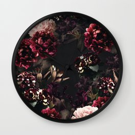 Vintage bouquets of garden flowers. Roses, dark red and pink peony.  Wall Clock