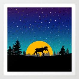 Moose Moon Art Print
