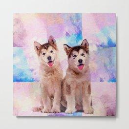 Alaskan Malamute Puppies - Pastels Metal Print