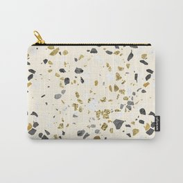 Glitter and Grit Yellow Gold Marble Carry-All Pouch