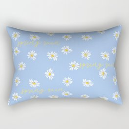 Spring rain with daisies and yellow gold typography script Rectangular Pillow