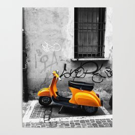 Orange Vespa in Bologna Black and White Photography Poster