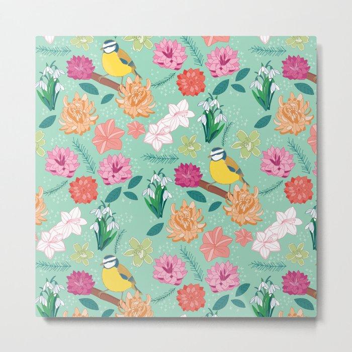 Joyful colourful floral pattern with bird Metal Print