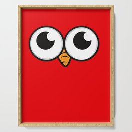 Bird eyes angry bird toes eyes gift Serving Tray